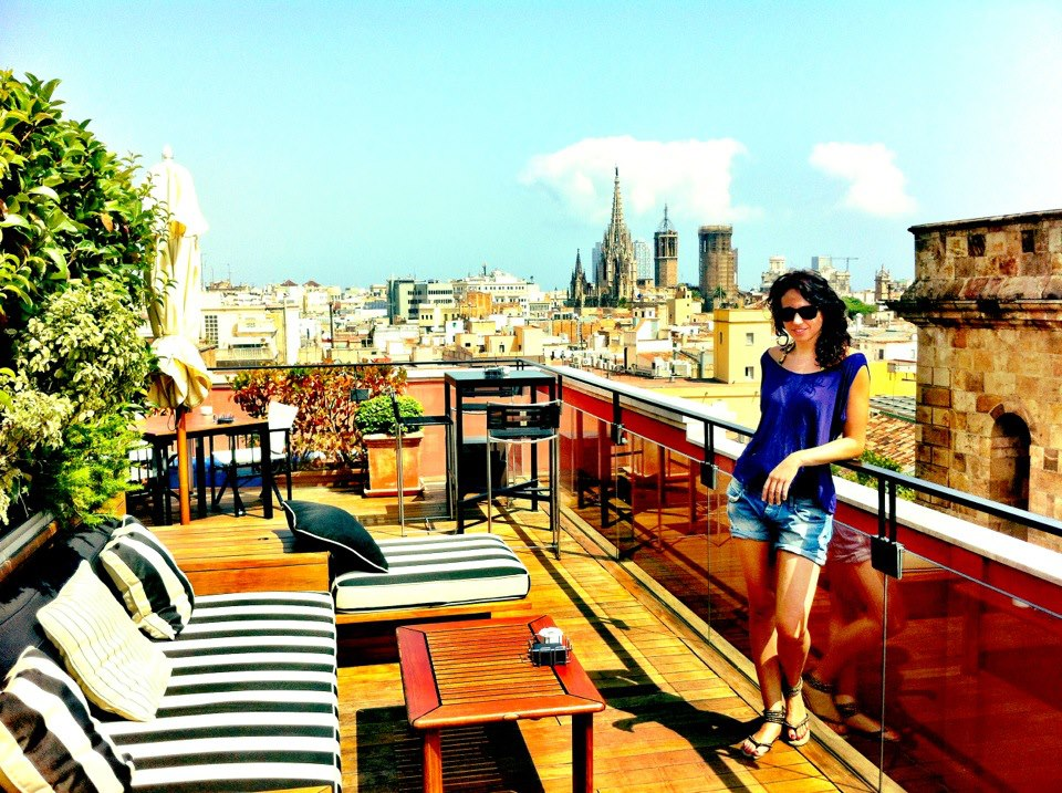 Rooftop Terrace at Hotel 1898 on Las Ramblas Barcelona with the views of the city in the background