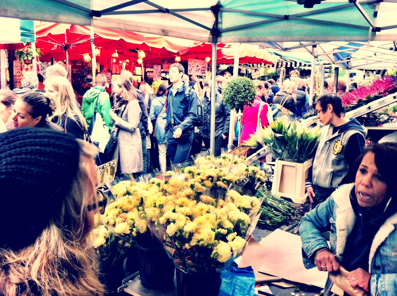 flower traders at columbia road flower market london