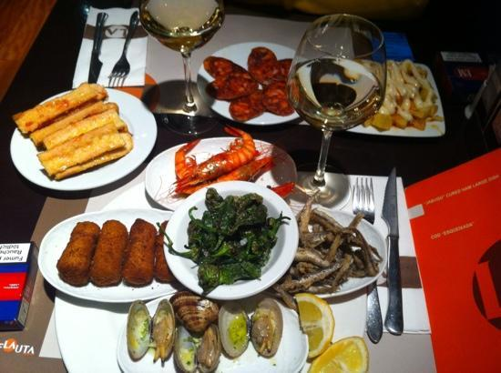 tapas selection at la flauta restaurant in Barcelona Spain