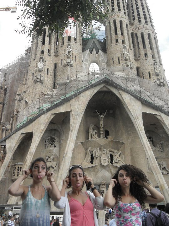 Pulling funny faces outside of La Sagrada Familia, Barcelona