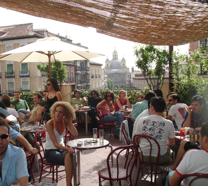 the rooftop terrace of el viajero bar in la latina madrid