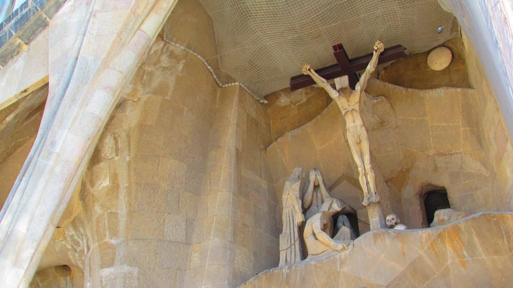 Jesus on the cross at the passion facade at La Sagrada Familia, Barcelona