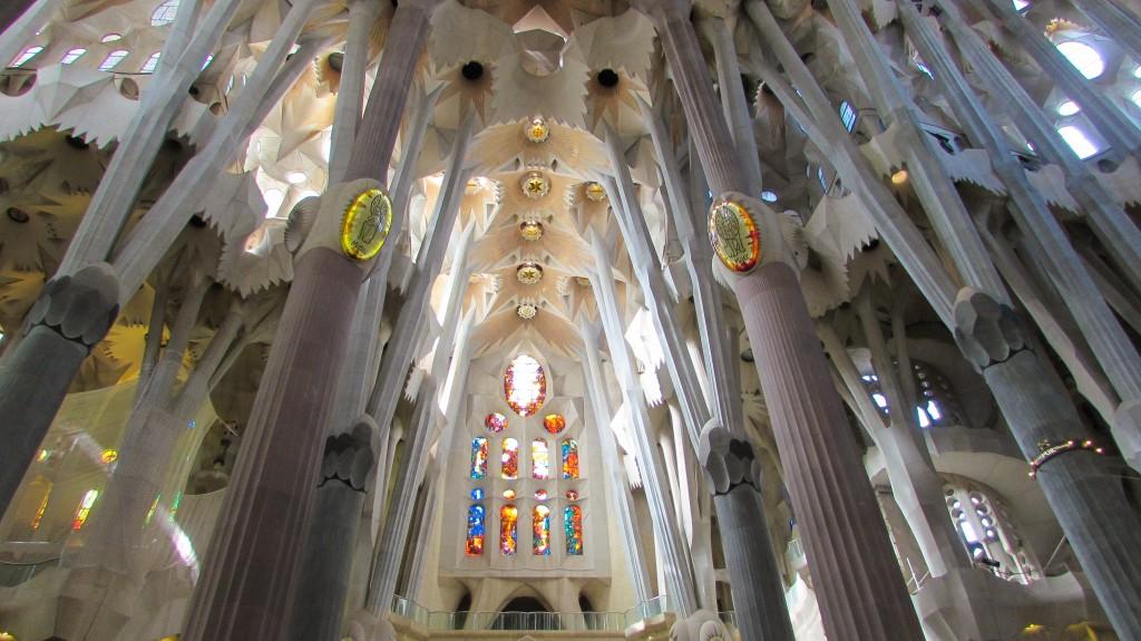 The ribcage-like spirals and ceilings of Gaudi's Sagrada Familia in Barcelona