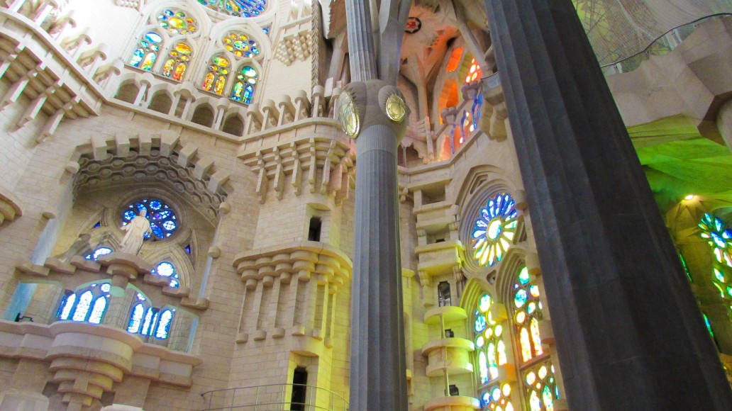 The inside of Gaudi's Sagrada Familia