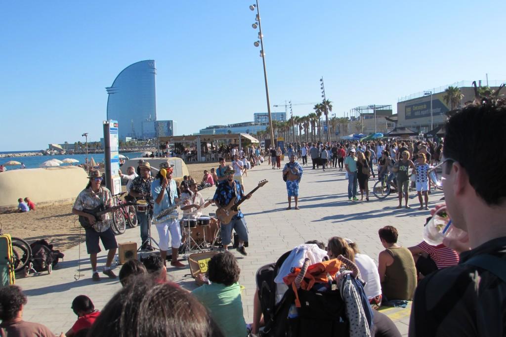 live music buskers Barceloneta beach Barcelona