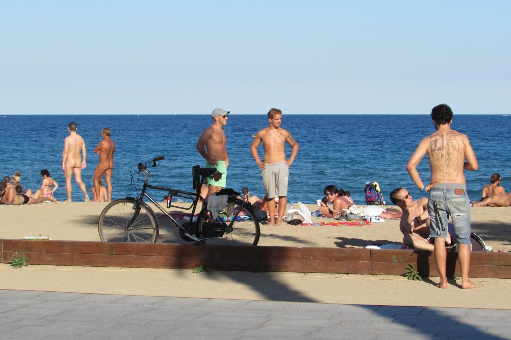 Naked people at playa san sebastian beach barcelona