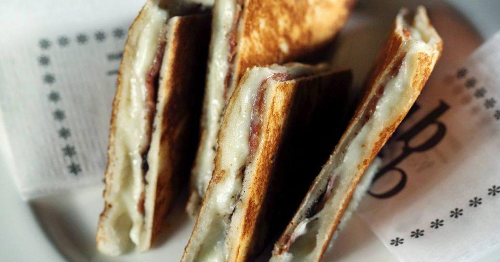 "gourmet ""bikini"" sandwich at Tapas 24 in Barcelona city centre"