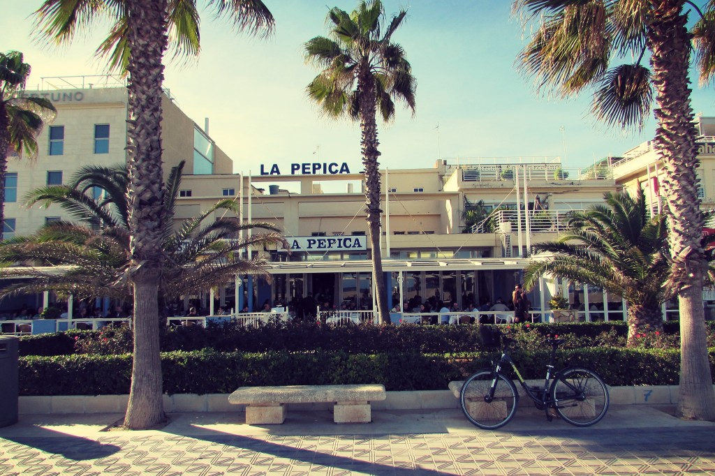 La Pepica beachfront restaurant, Valencia. Like a scene from Santa Monica, LA.