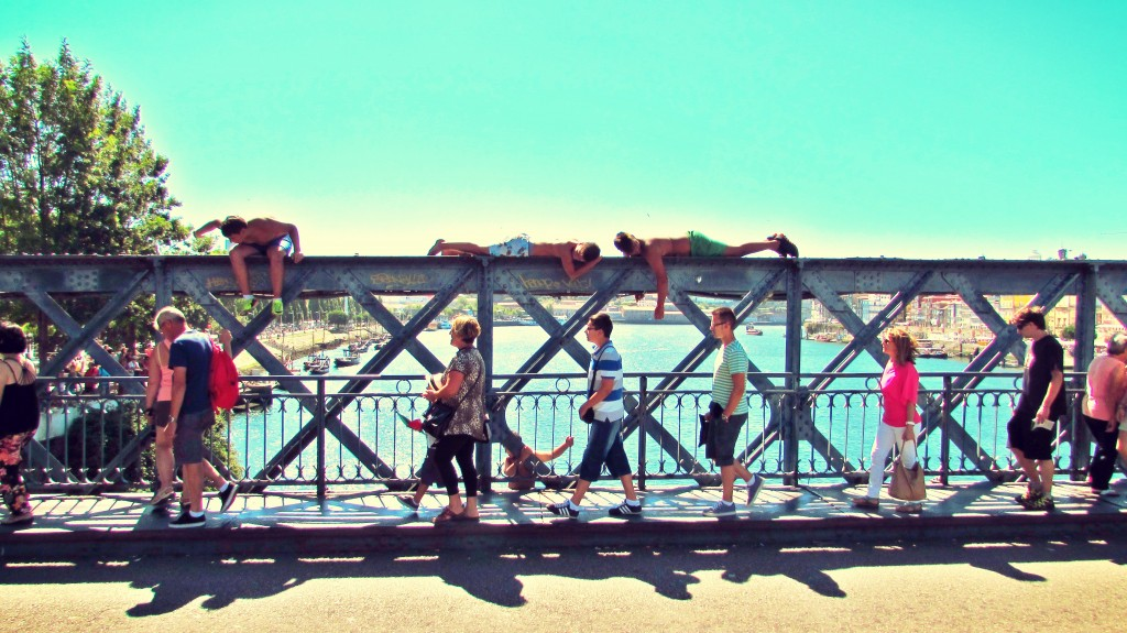 Pont Luz, Porto, Portugal - Kids Jumping Off Bridge into River