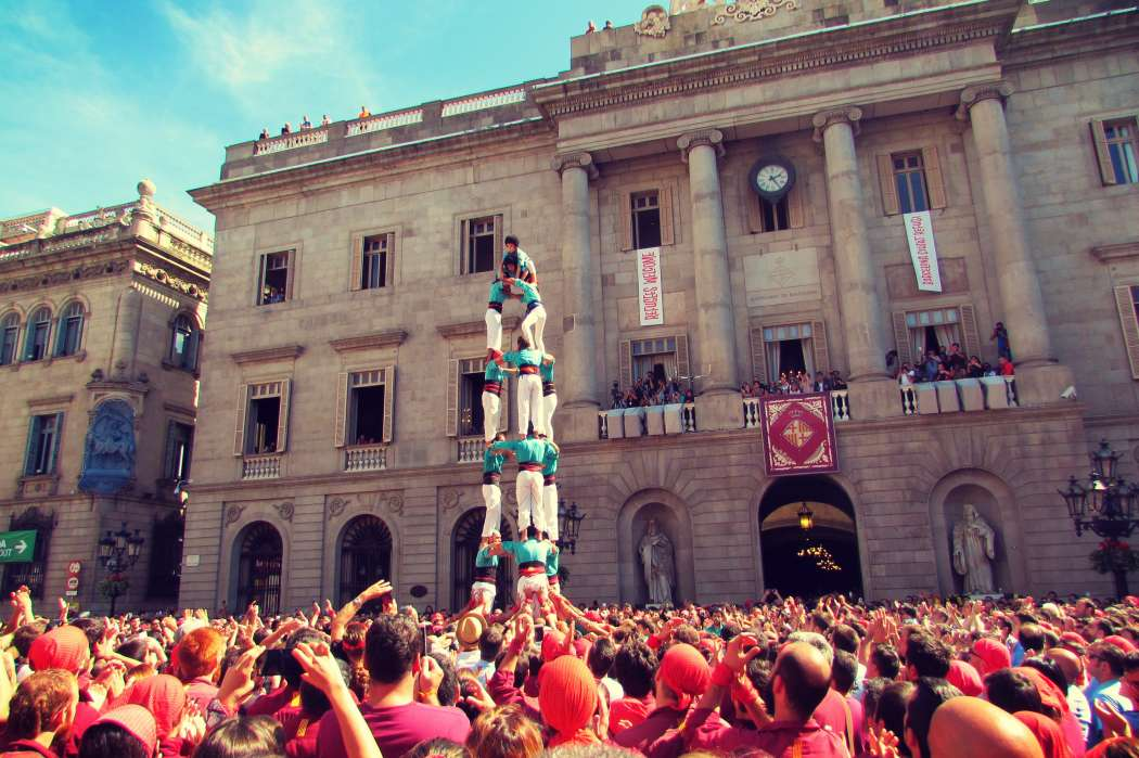 Castellets (human towers) in the Gothic Quarter's handsome Placa Jaume for the annual La Merce festival (every September)