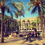 Placa Reial, a dreamlike square just off Las Ramblas and packed with restaurants, bars and clubs Gothic Quarter, Barcelona.