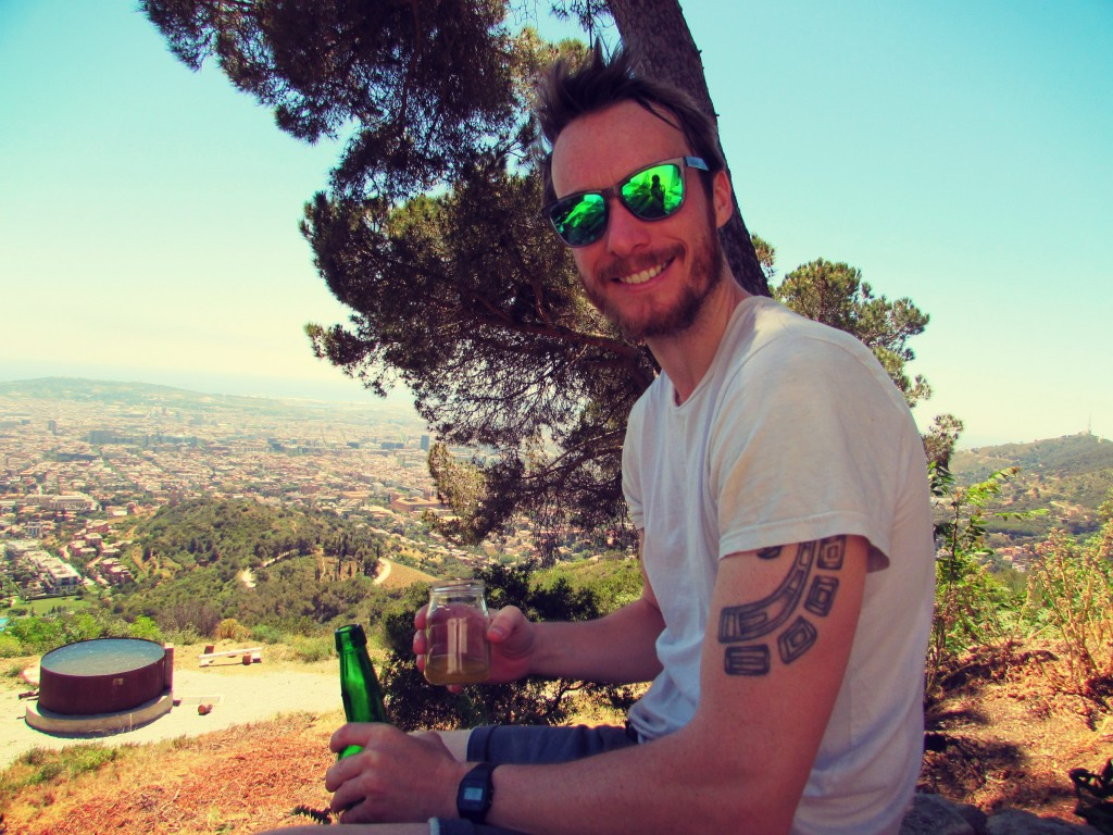 Sipping Spanish cider in the Carretera de les Aigues in the Colserolla Mountains of Barcelona