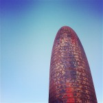 Torre Agbar colourful building in Encants, Poblenou Barcelona