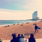 surfers at Barceloneta beach Barclona