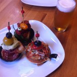 "Pinchos on the famous Carrer Blai ""tapas street"" in Poblesec, Barcelona"