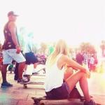 Barceloneta beach life, Barcelona longboard skaters
