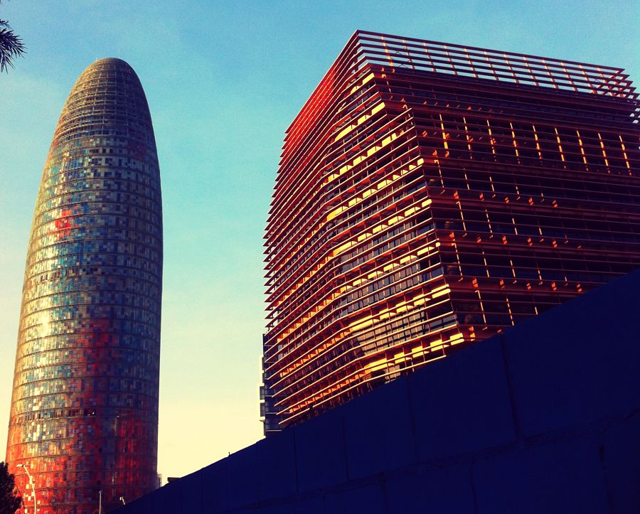 "Torre Agbar (""giant penis"") and CMT building in Poblenou - a hotbed of innovative architecture."
