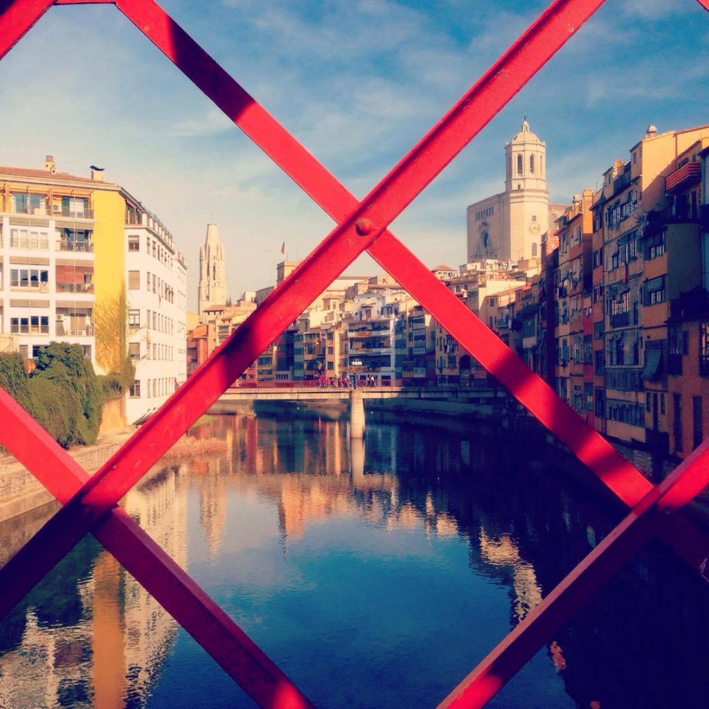 Girona's famous Eiffel Bridge and Cathedral