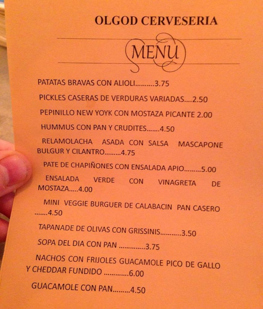 Ølgod craft beer bar Raval Barcelona - vegetarian tapas menu