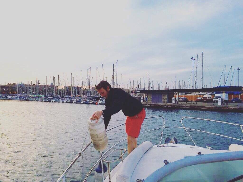 Ben getting to work ont he Minerva Barcelona boat trip