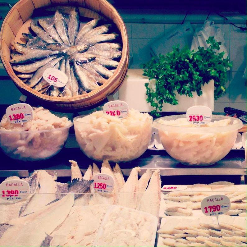 Traditional salted cod 'bacalao' fresh from San Antoni market
