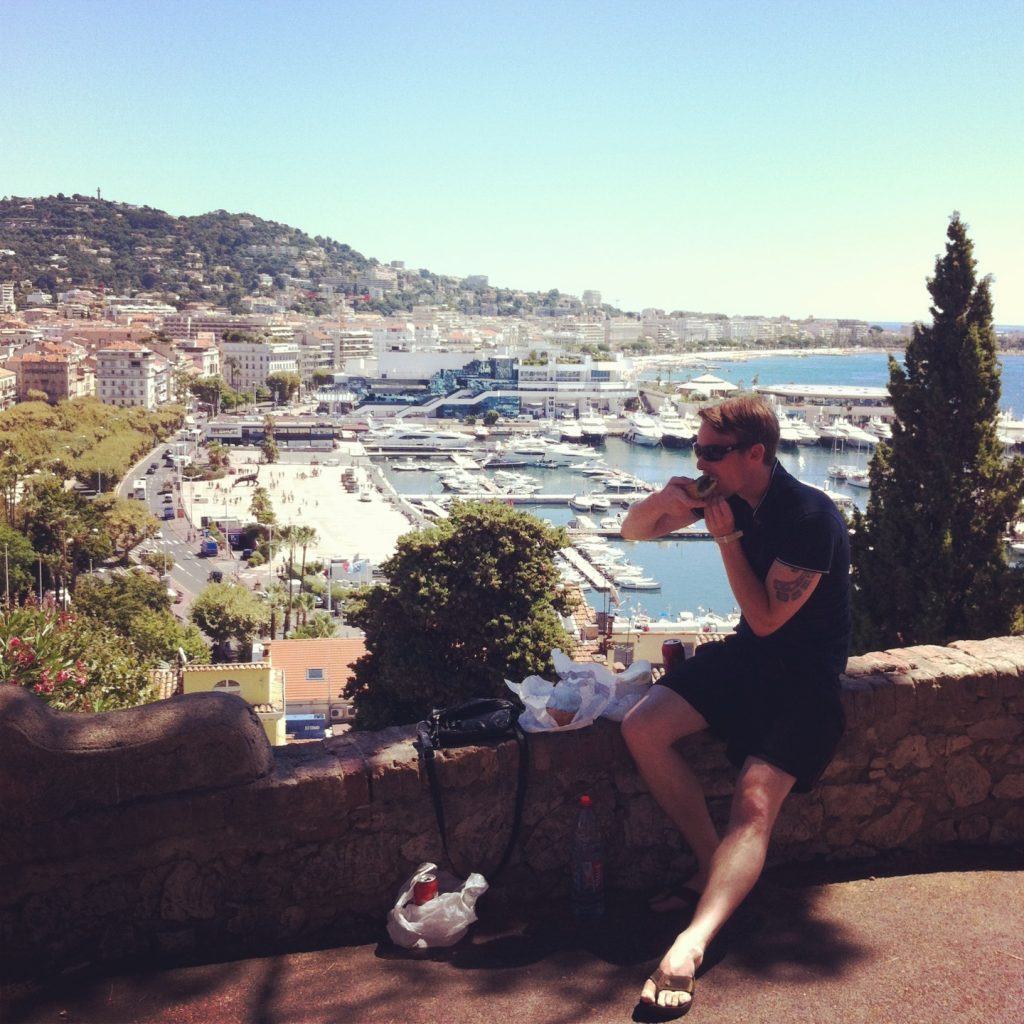 Me enjoying a picnic in Cannes during my first trip to the south of France