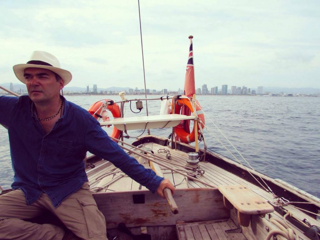 Skipper Dave, owner of Classic Sail Barcelona and the beautiful boat, Gemini sailboat