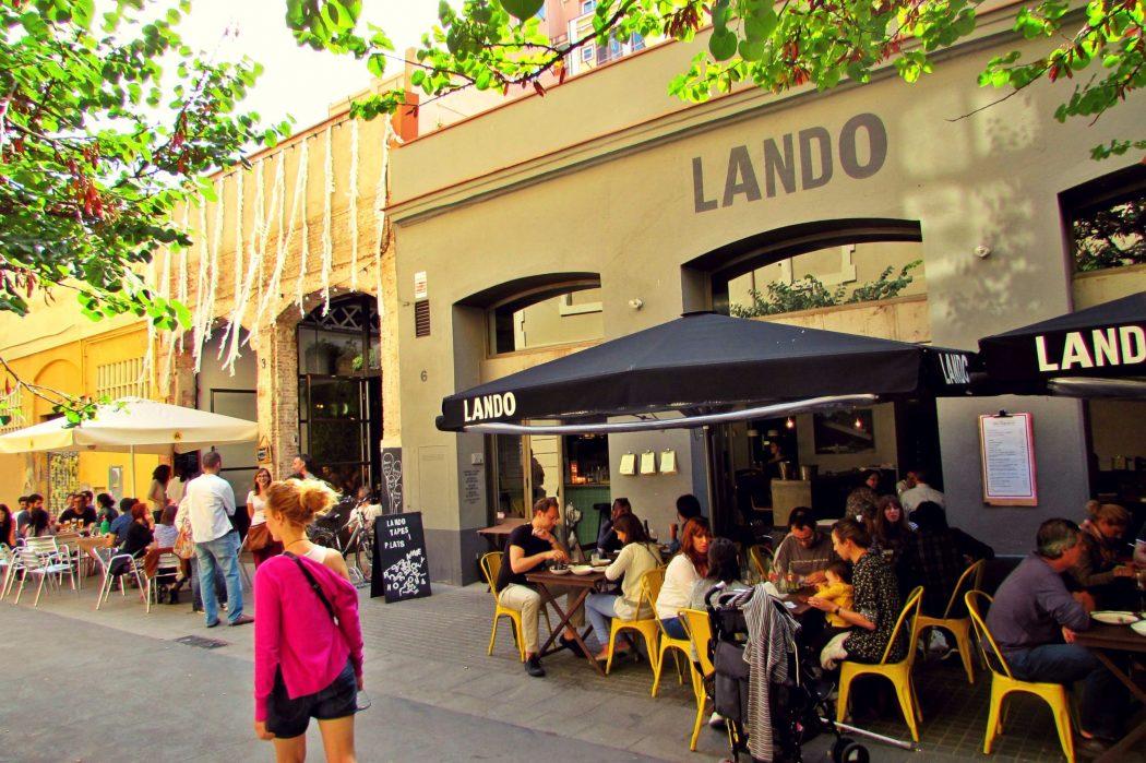 Cafe terraces in the sun, Sant Antoni Barcelona