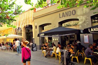 Cafe terraces in the sun, Sant Antoni Barcelona