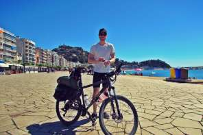 Ben Holbrook and his bike, which he calls Gwen, on the Costa Brava
