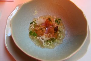 Art in a bowl at Moments Restaurant, Barcelona