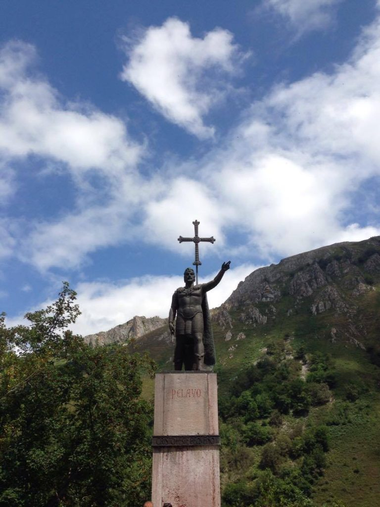 The King Pelayo statue outside of the Covadonga Sanctuary in Asturias.