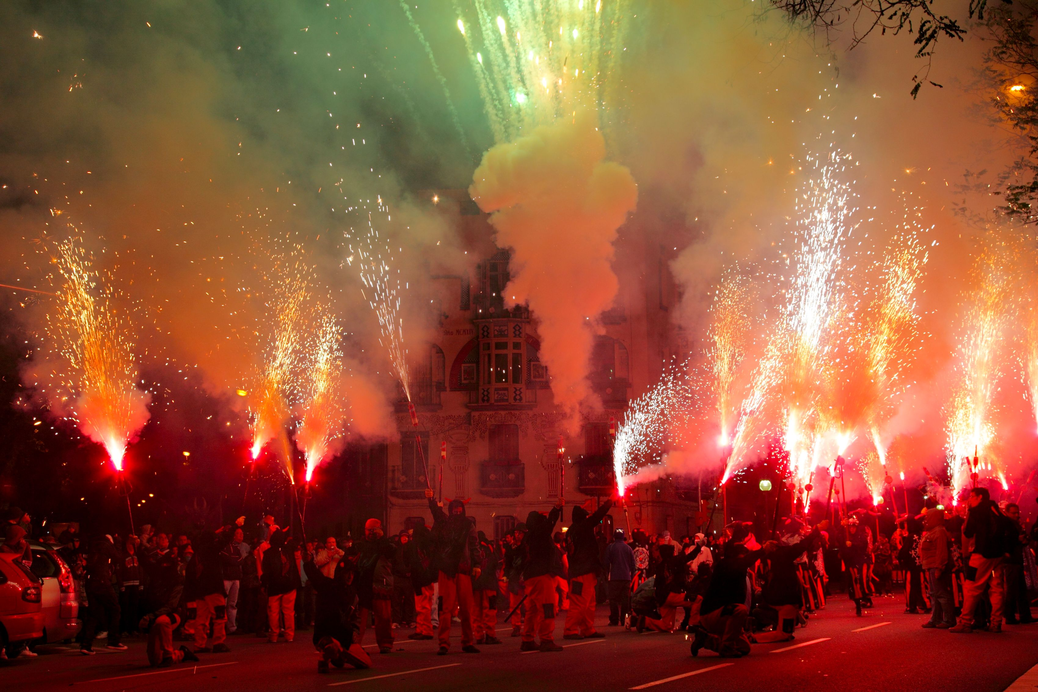 Diablo skies during Le Merce's Correfoc (Fire Run) in Barcelona.