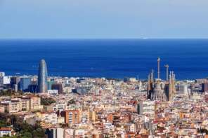 Barcelona city skyline - from above