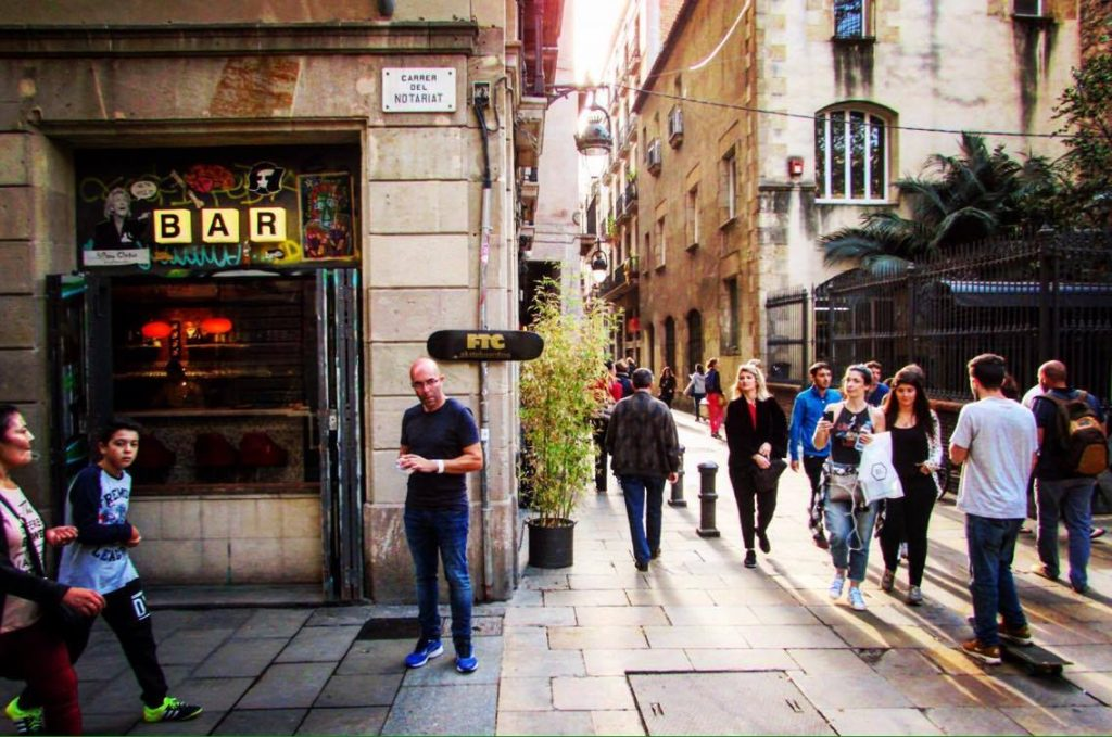 Walking through Raval on the Wanderbeak walking food tour in Barcelona