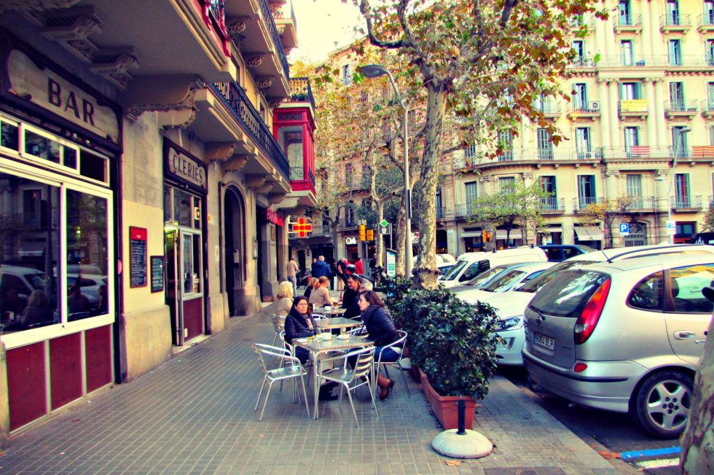 Cafe terraces in Eixample Barcelona