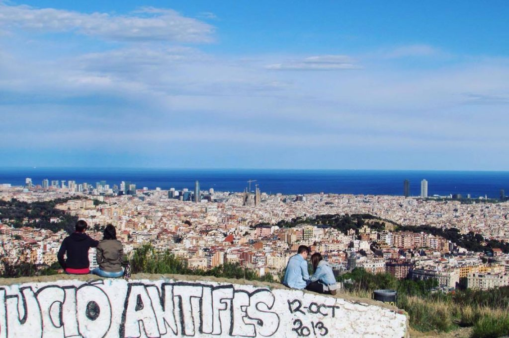 City views of Barcelona from the Passeig de les Aigües Cycle and Running track