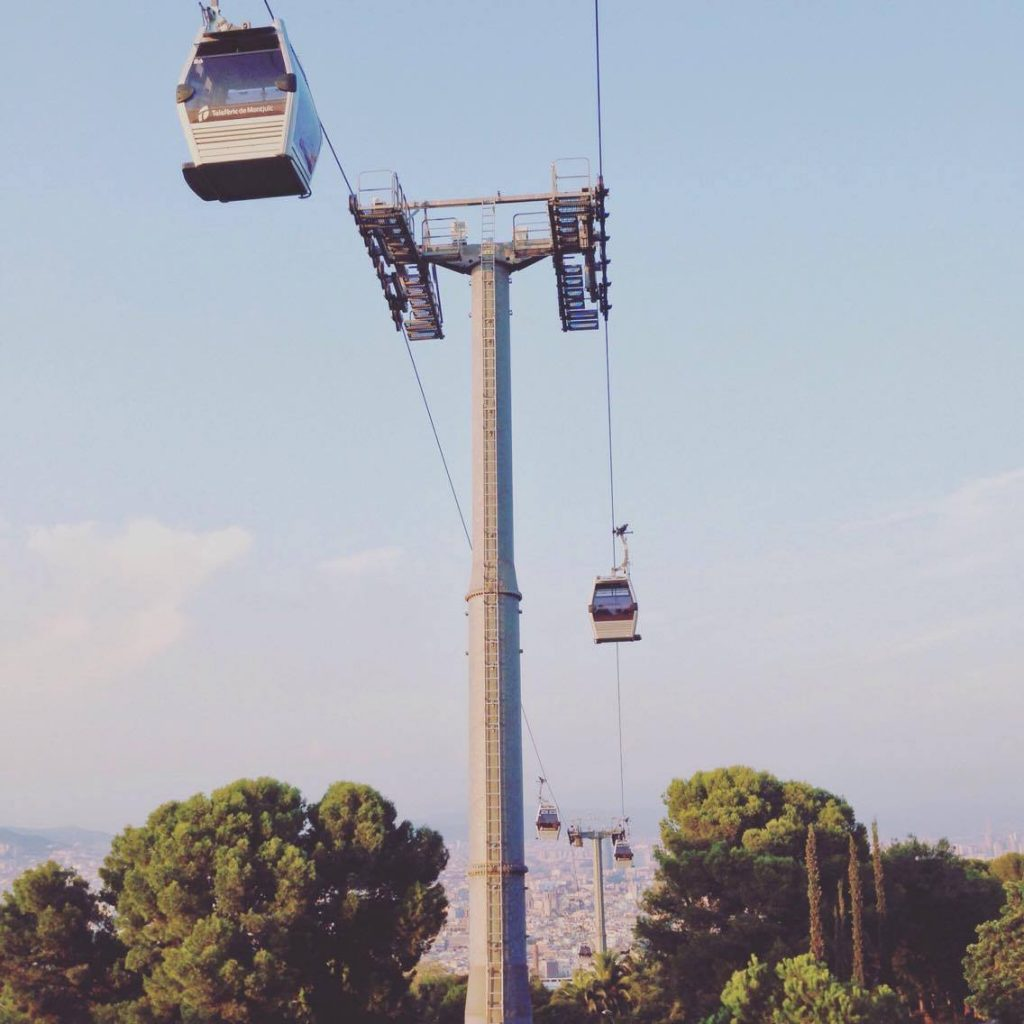 Barcelona cable car ride up to Montjuic