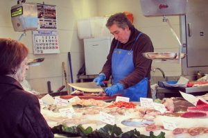 Fishmongers in Santa Caterina Food Market - Barcelona Food Sherpa Market Tour and Home Dining Experience