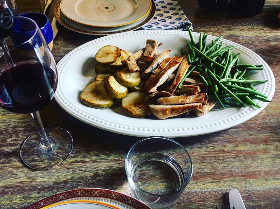 Iberico secreto pork and green beans with baked pairs - Barcelona Food Sherpa Market Tour and Home Dining Experience