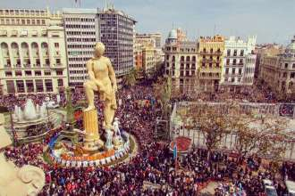 The main burning ninot in the government square in Valencia during the annual Las Fallas festival