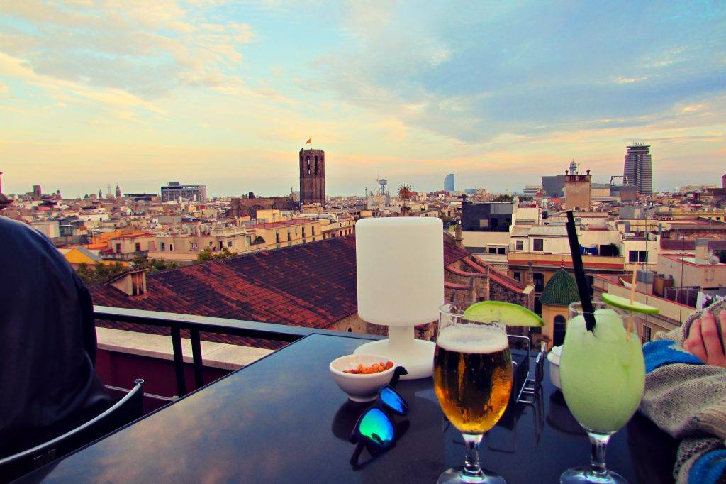 Rooftop terrace views from Hotel 1898 in Barcelona