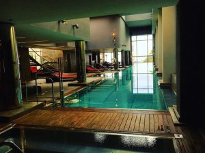 indoor pool at the luxury 5 star Gran Hotel La Florida Hotel in Barcelona
