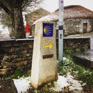 Camino de Santiago Bad Weather Snow and Rain Sign