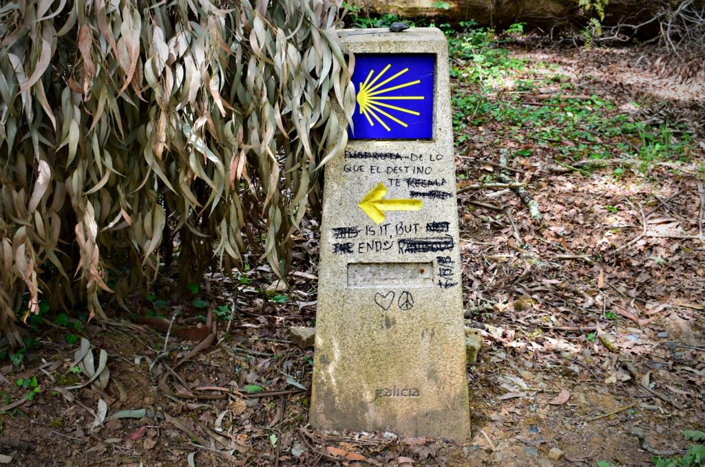 Camino de Santiago Sign Posts with Yellow Arrow