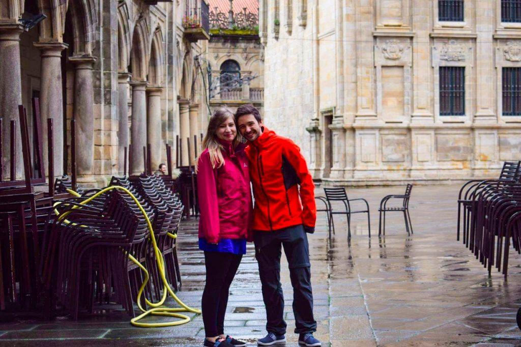 Hikers on the Camino in Santiago de Compostela