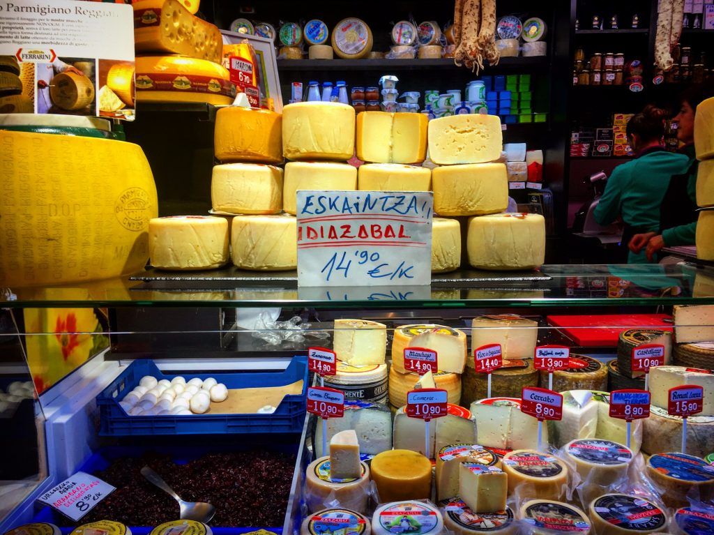 Idizabal cheese in Vitoria's market