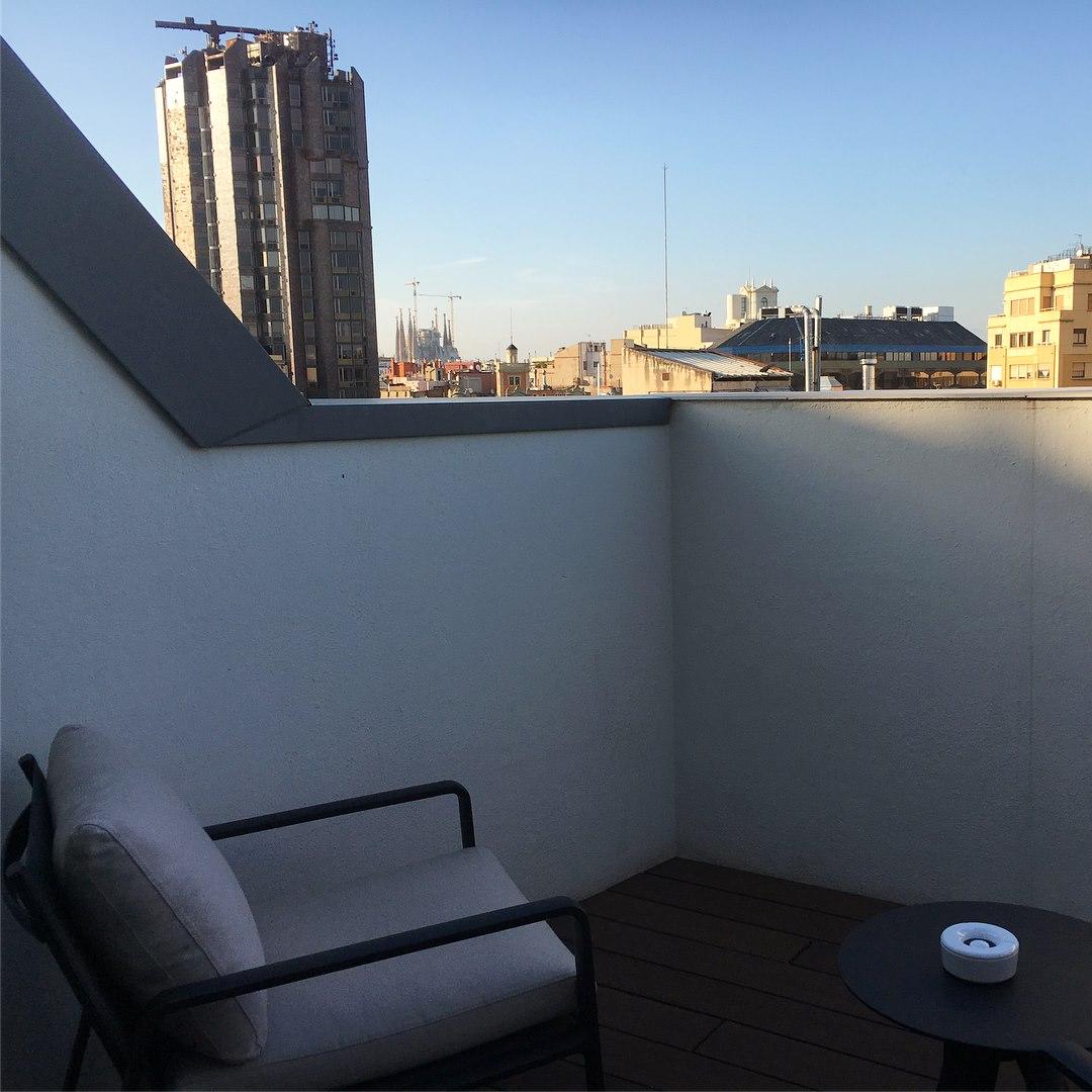 Hotel rooms with private terrace balcony in H10 Cubik hotel in Barcelona - views of Sagrada Familia in Barcelona