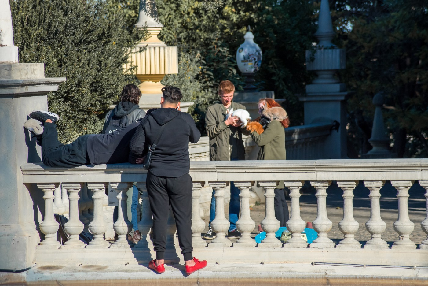 Tourists in Barcelona at Christmas time