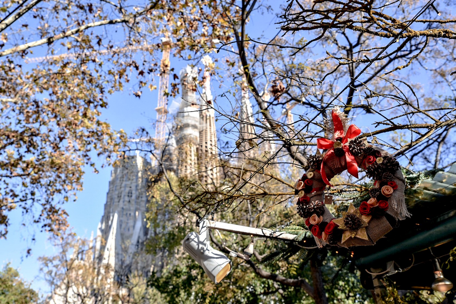 Churro stand at Fira de la Sagrada Familia Christmas Market
